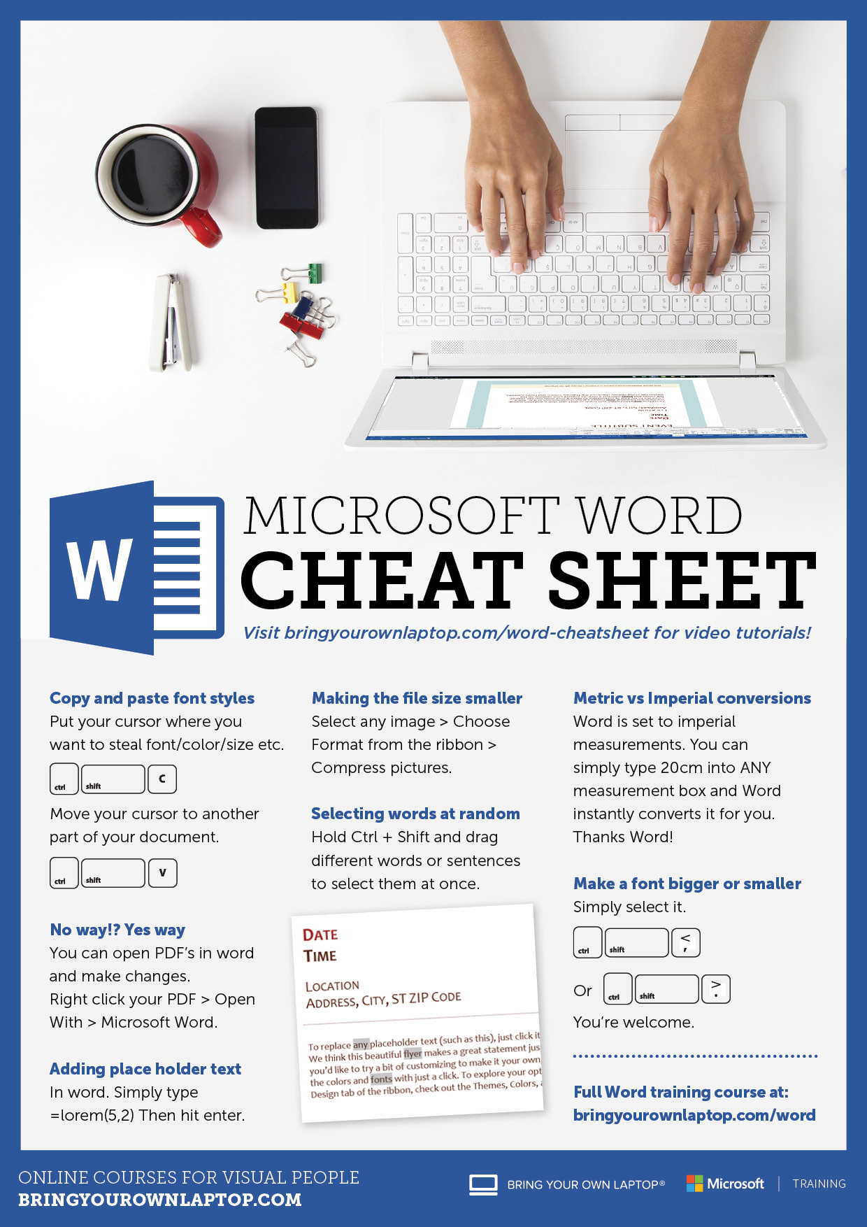 Microsoft Word 2016 Cheat Sheet | Bring Your Own Laptop